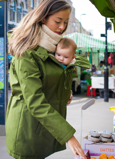 wombat wallaby forest green and beige babywearing coat
